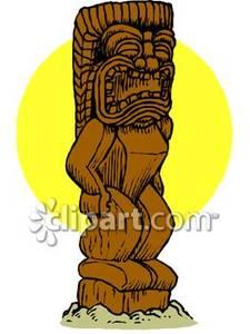 Tiki statue clipart.