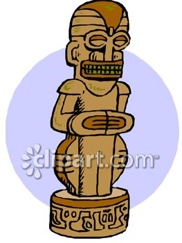 Carved Wooden Tiki Statue.