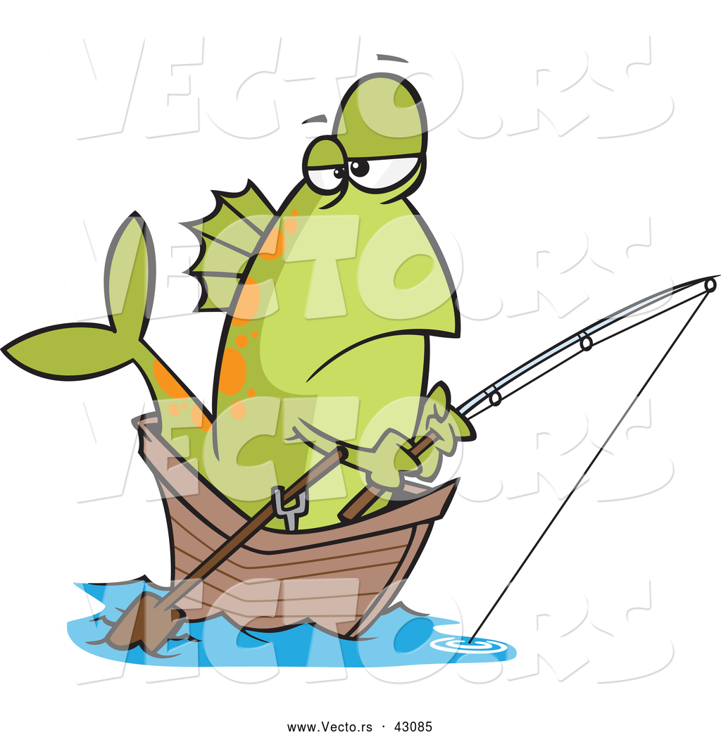 Vector of a Cartoon Fish Fishing in a Wooden Boat by Ron Leishman.