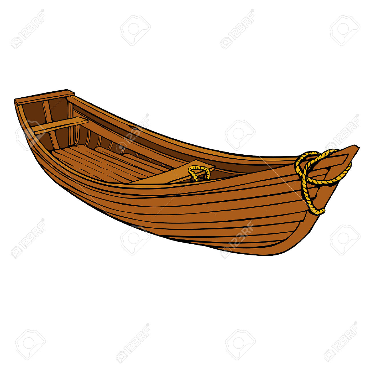 Simple Cartoon Wooden Boat Or Canoe For Fishing Royalty Free.