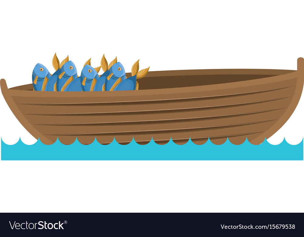 Color silhouette wooden fishing boat in lake with.