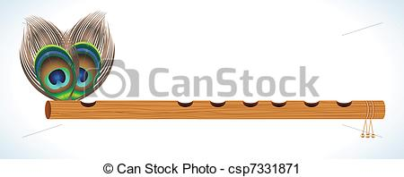 Vector Clip Art of abstract wood flute with peacock feather vector.