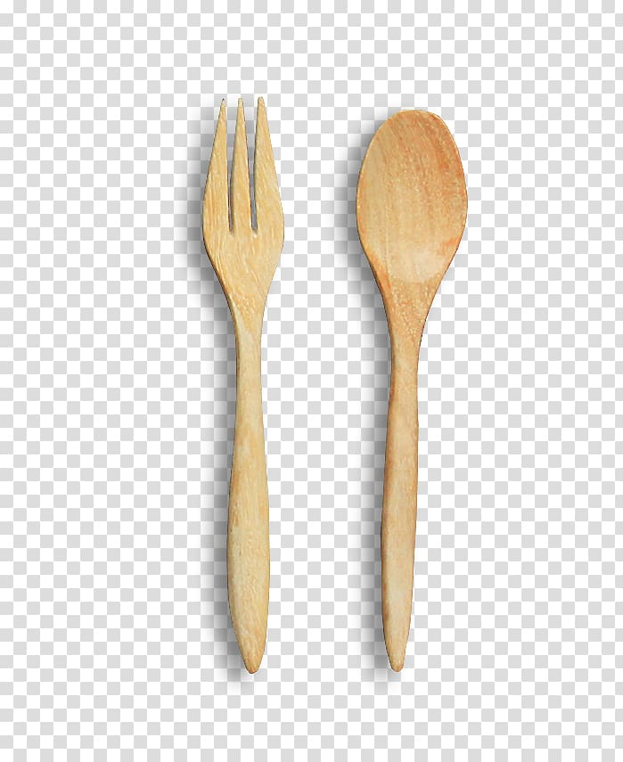 Brown wooden ladle and fork , Wooden spoon Fork Knife.