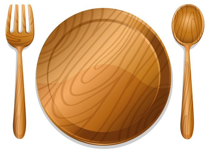 Wooden plate with pair of fork and spoon.