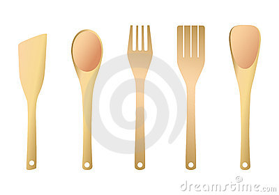 Wooden Fork And Spatula For Kitchen Royalty Free Stock Image.