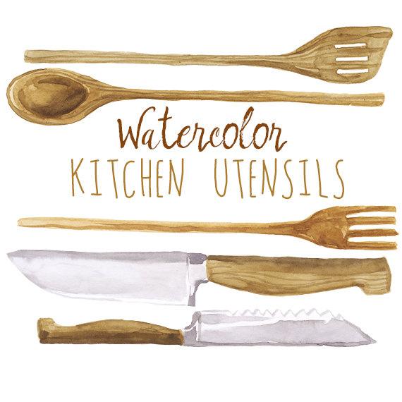 Watercolor Kitchen Utensils Clip Art Wooden cookware Wood.