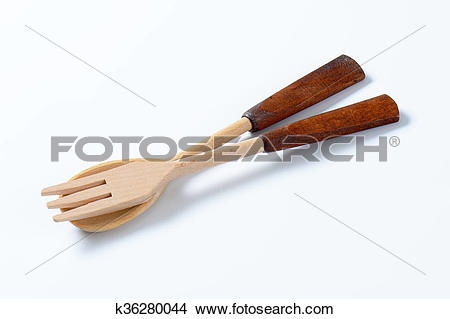 Stock Photo of wooden fork and spoon k36280044.