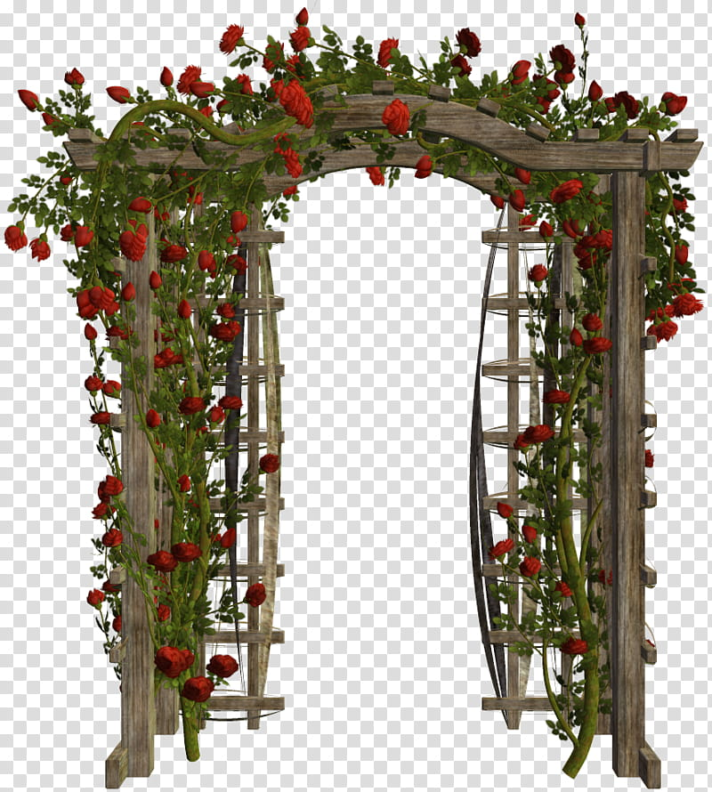 Various Garden Items , wooden arbor surrounded transparent.
