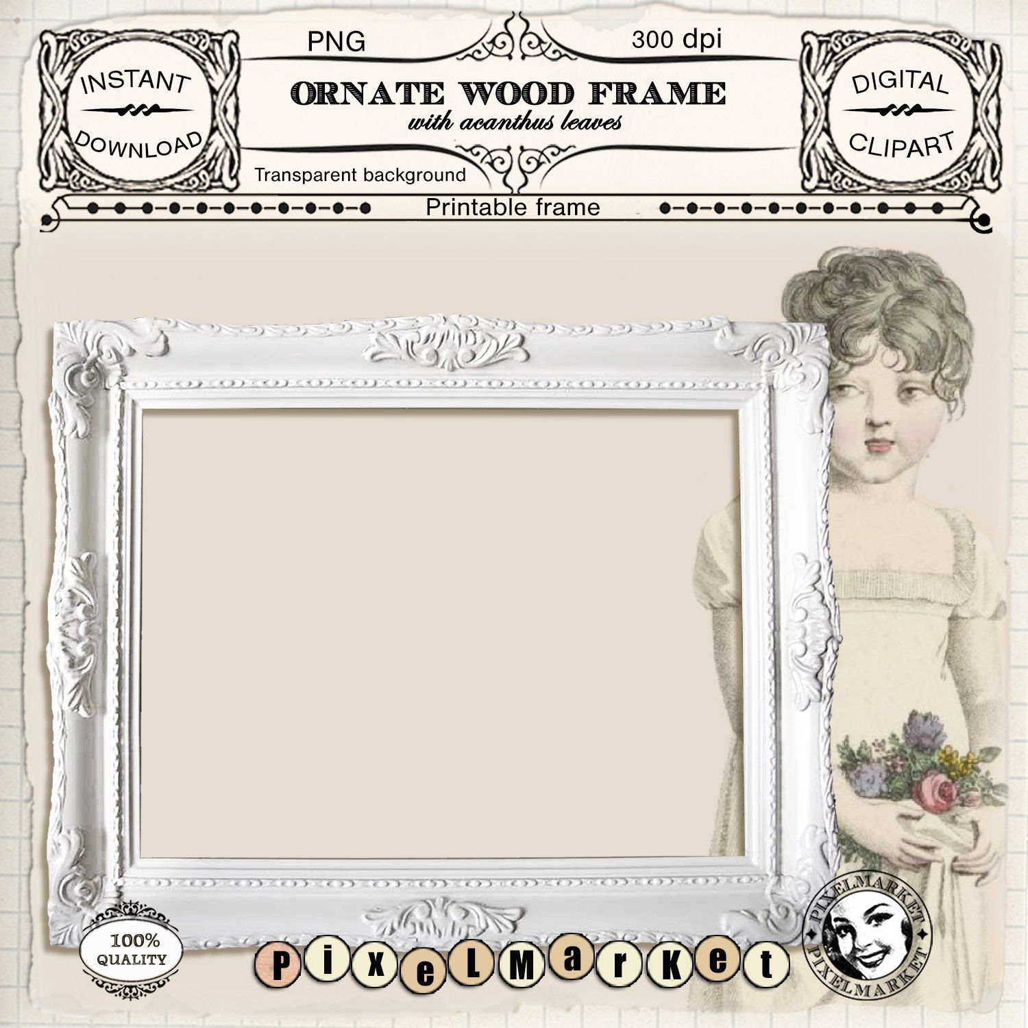White wood PICTURE FRAME CLIPART Printable ornate photo.