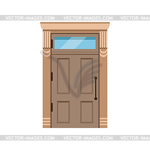 Classic wooden front door to house, closed elegant.