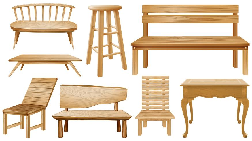 Different designs of wooden chairs.