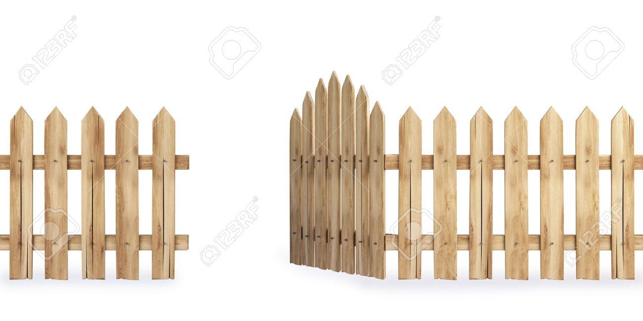 Open Wooden Gate Clipart.