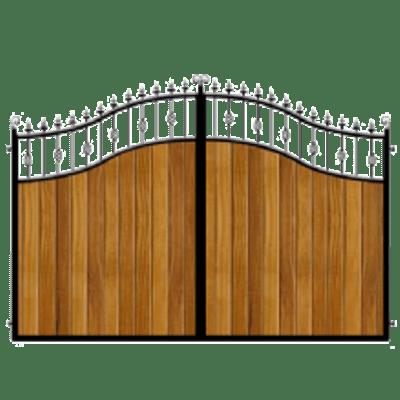 Wood and Metal Driveway Gate transparent PNG.