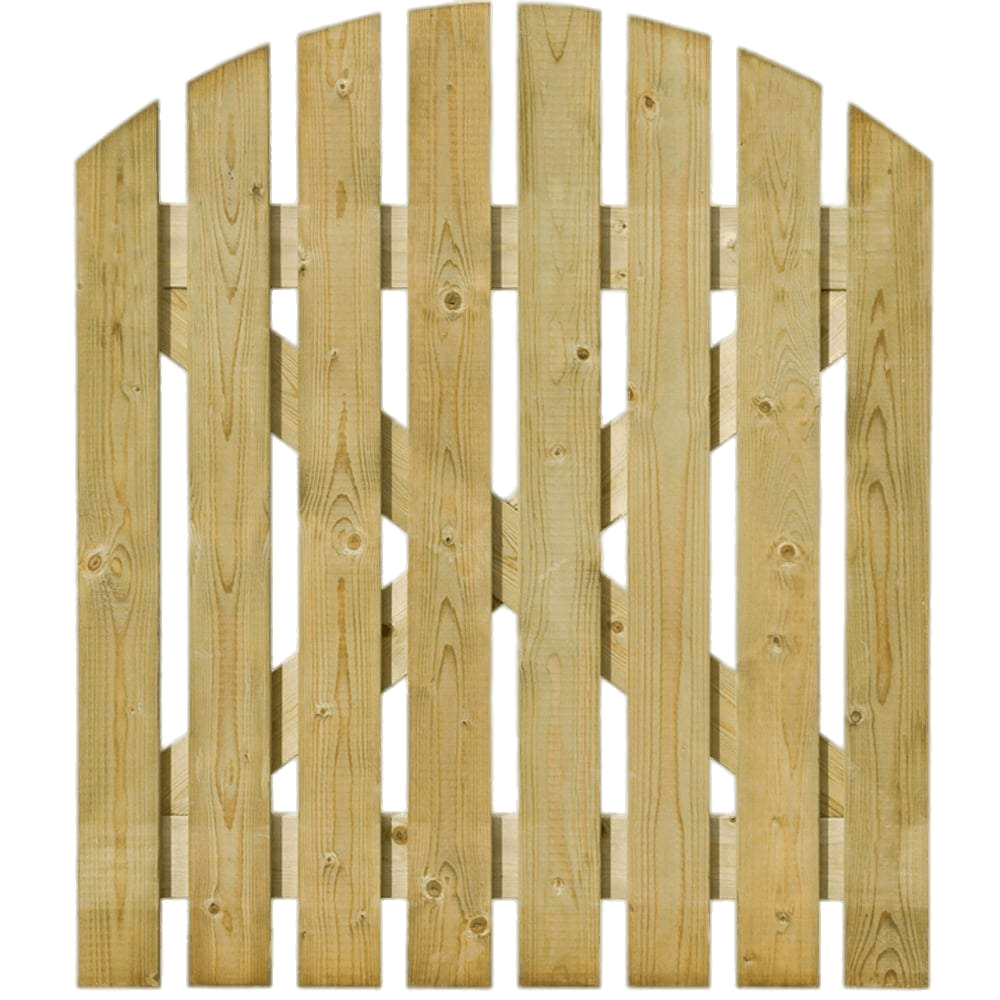 Round Top Light Wooden Gate transparent PNG.