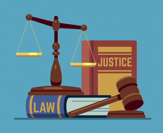 Justice scales and wood judge gavel. wooden hammer with law.