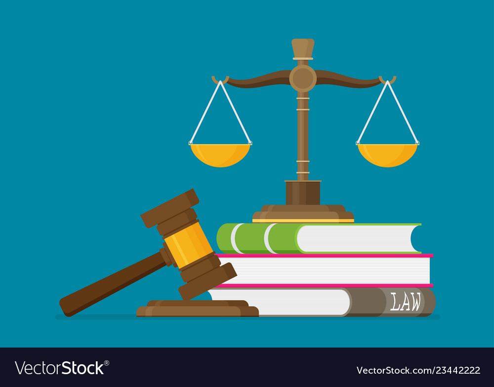 Justice scales and wooden judge gavel law hammer.