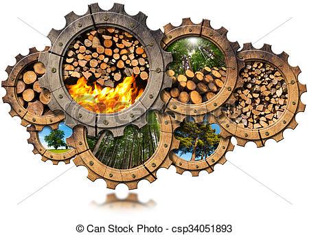Stock Illustration of Firewood Production.