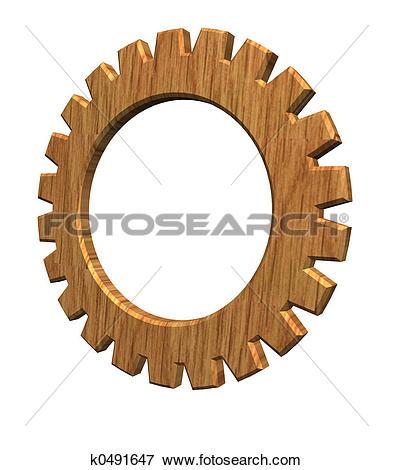 Stock Illustration of wooden gear k0491647.