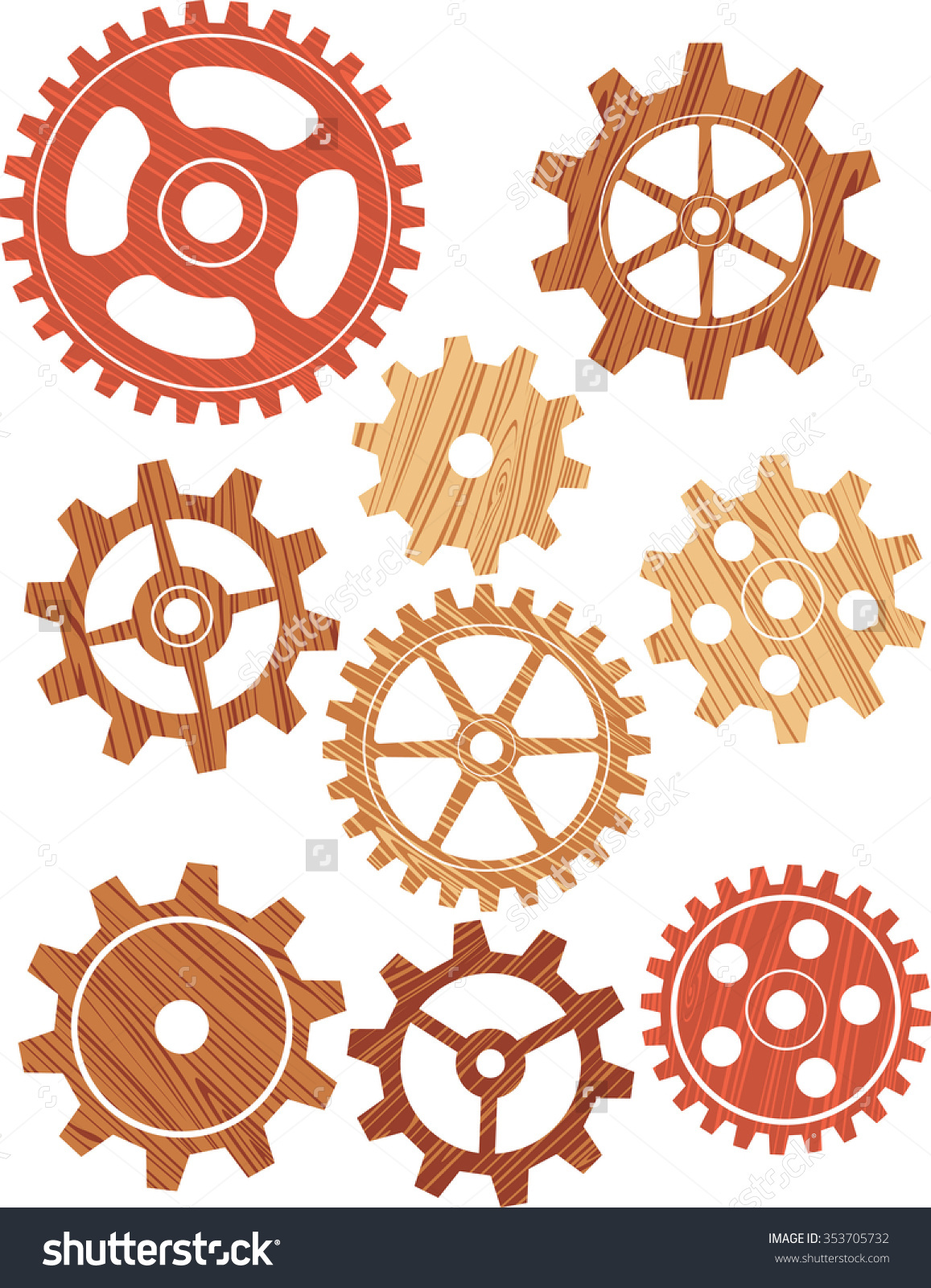 Wooden Cogsvintage Style Wood Gears Different Stock Vector.