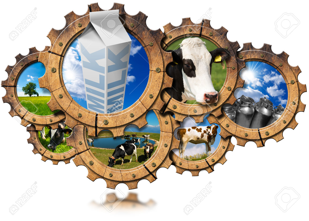 Seven Wooden Gears With Cows, Green Pasture, Steel Cans For Milk.