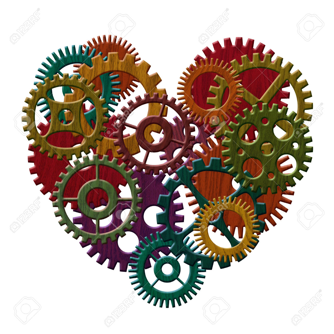 Color Stained Wooden Gears Forming Heart Shape Isolated On White.