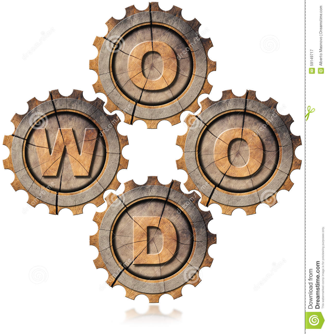 Wood Symbol With Four Wooden Gears Stock Illustration.
