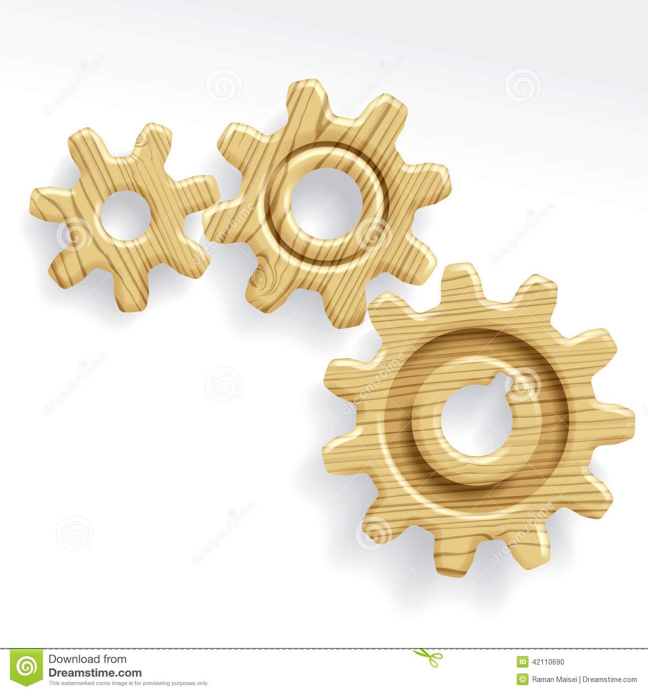 Wooden Gears Stock Vector.