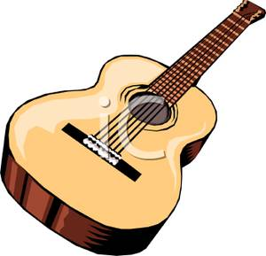 Free Clipart Image: A Wooden Acoustic Guitar.