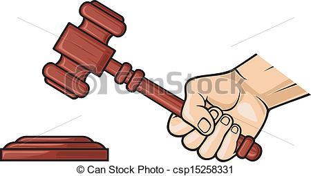 Vectors of wooden gavel in hand (hand holding judge's gavel, gavel.