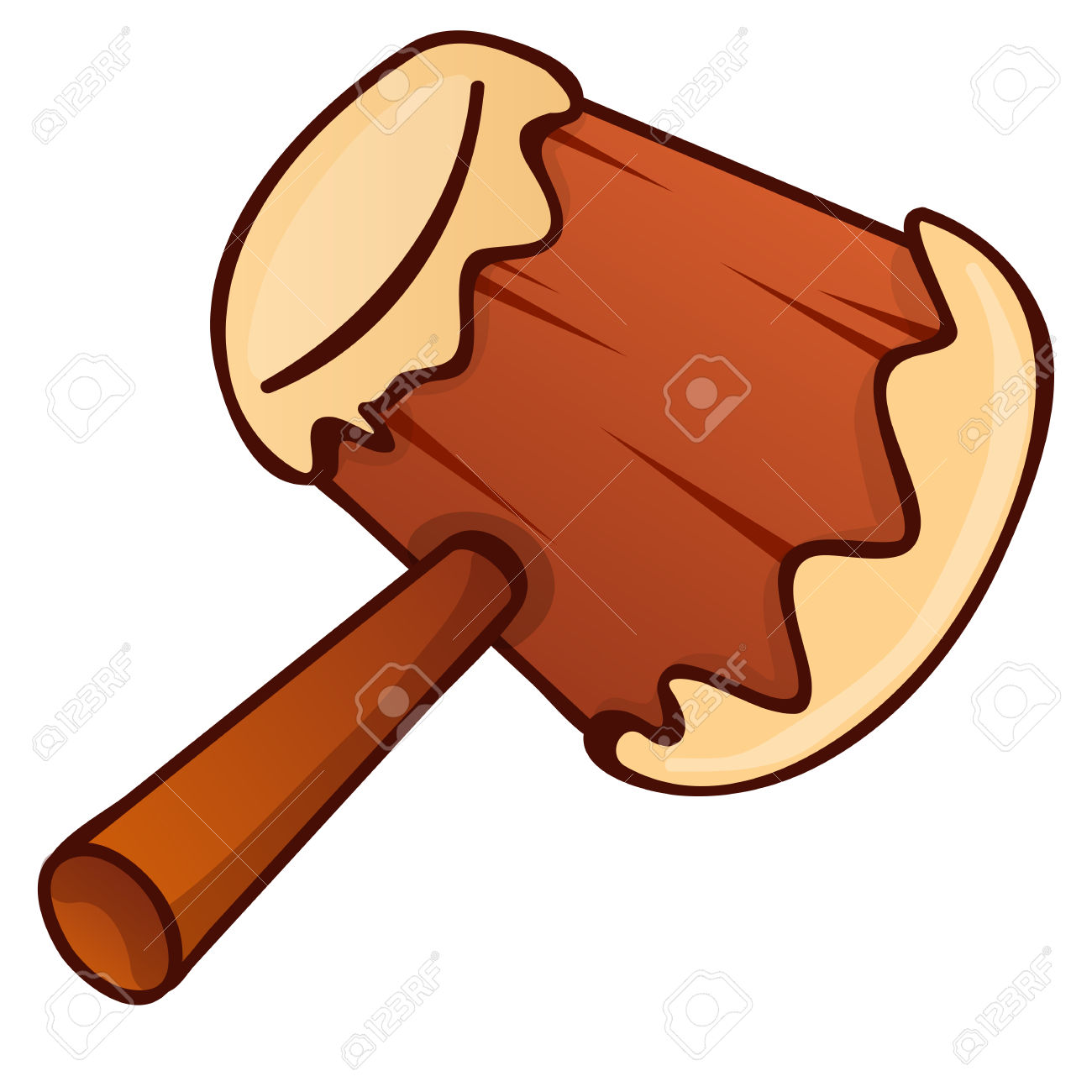 Wooden hammer clipart no background.