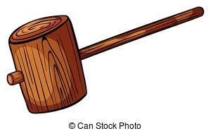Vector Clip Art of cartoon wooden hammer csp19655714.