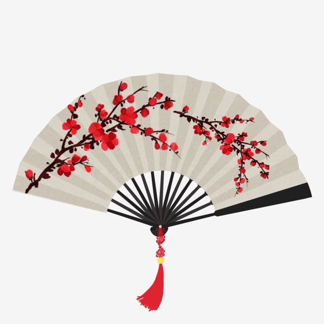 Red Plum Folding Fan Plum Fan Chinese Style Ink Wind, Plum.