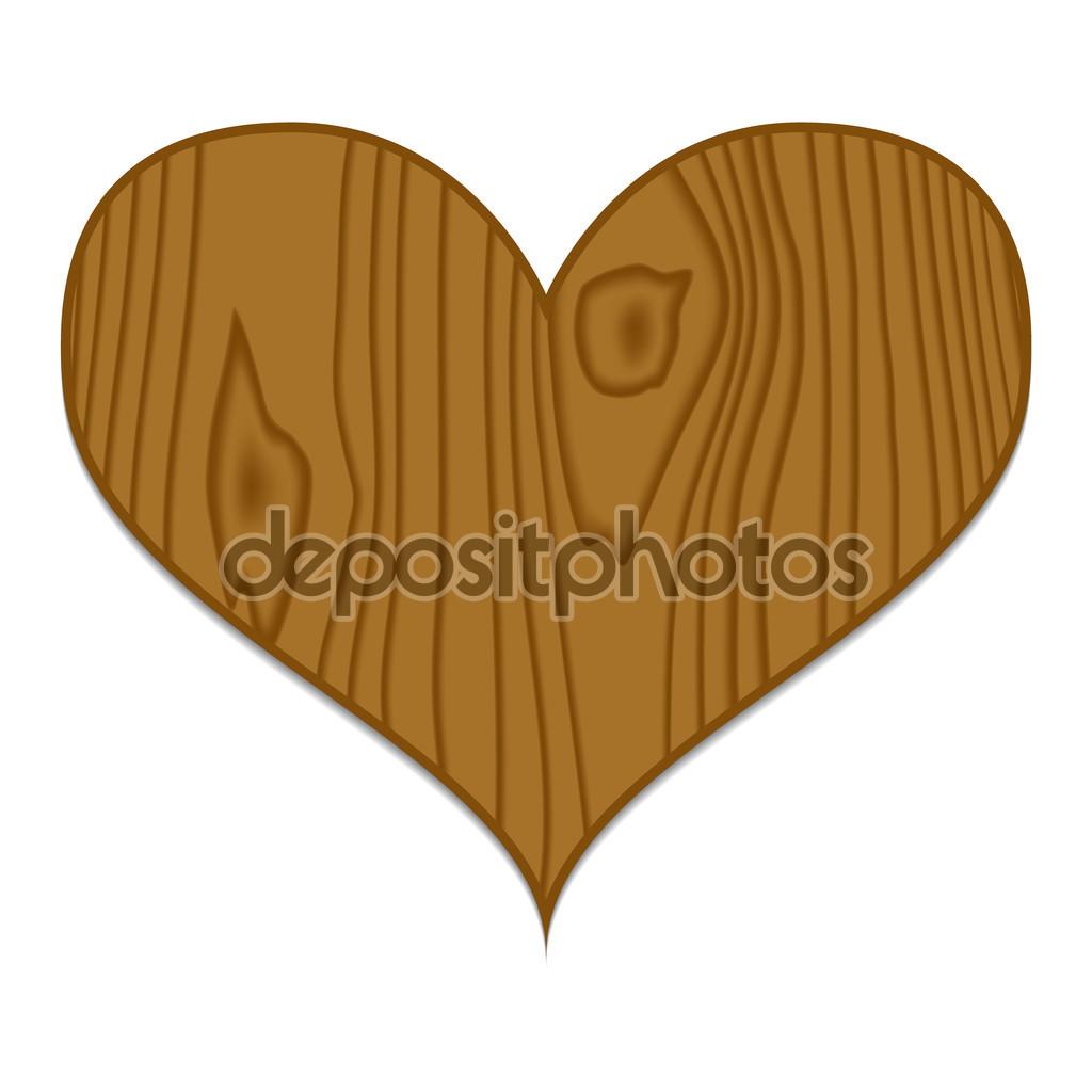 Vector brown wooden heart — Stock Vector © Badunchik #108964974.