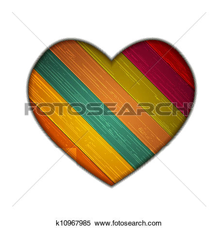 Clipart of Vector colorful wooden heart on white background. Eps10.