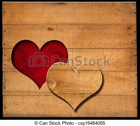 Stock Illustrations of Heart Shape cut on Old Wooden Boards.