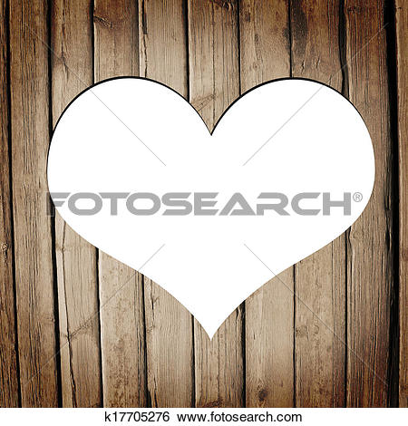 Stock Illustration of Heart carved on a wooden surface k17705276.