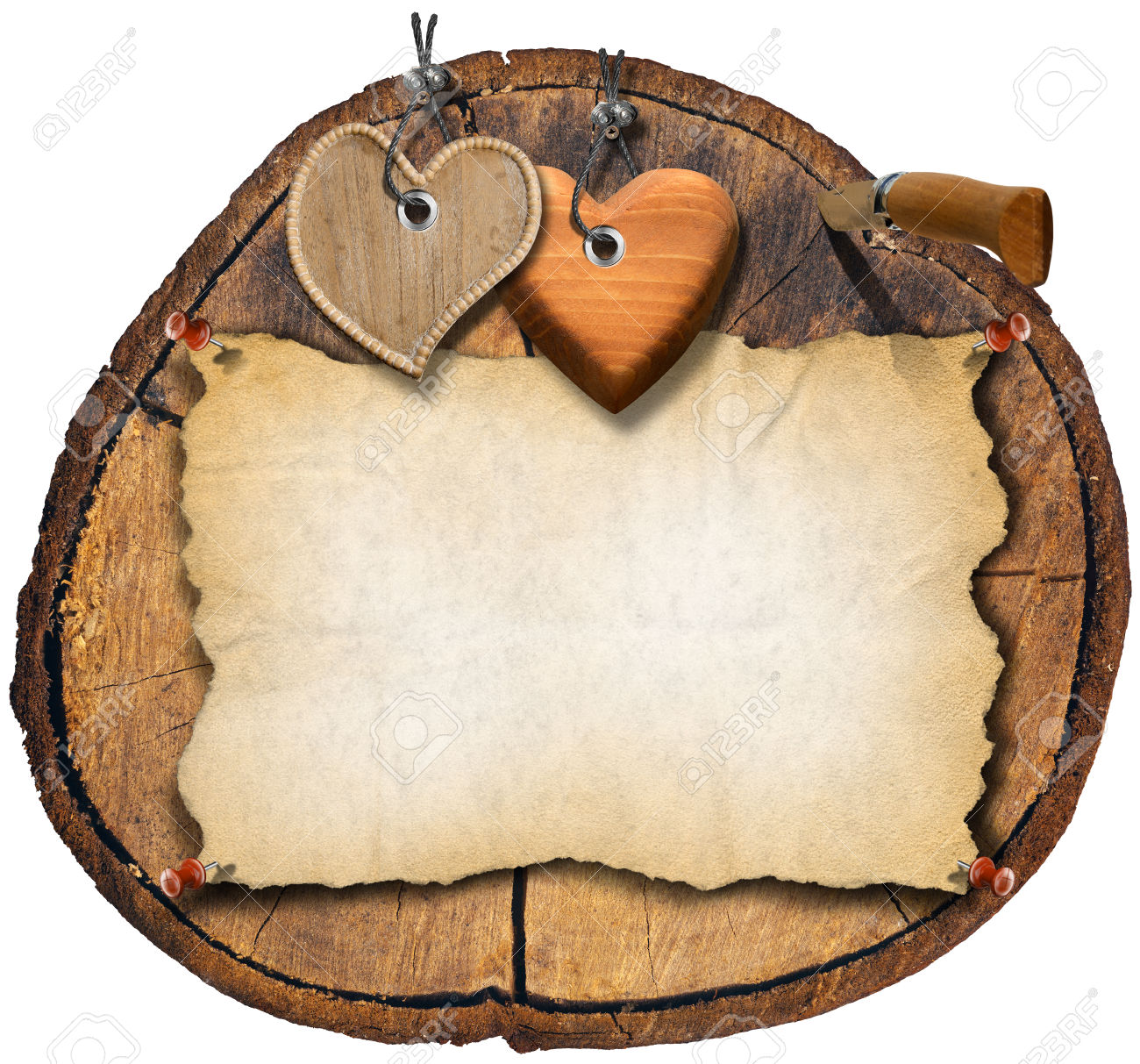 Two Handmade Brown Wooden Hearts Hanging On Trunk Section With.