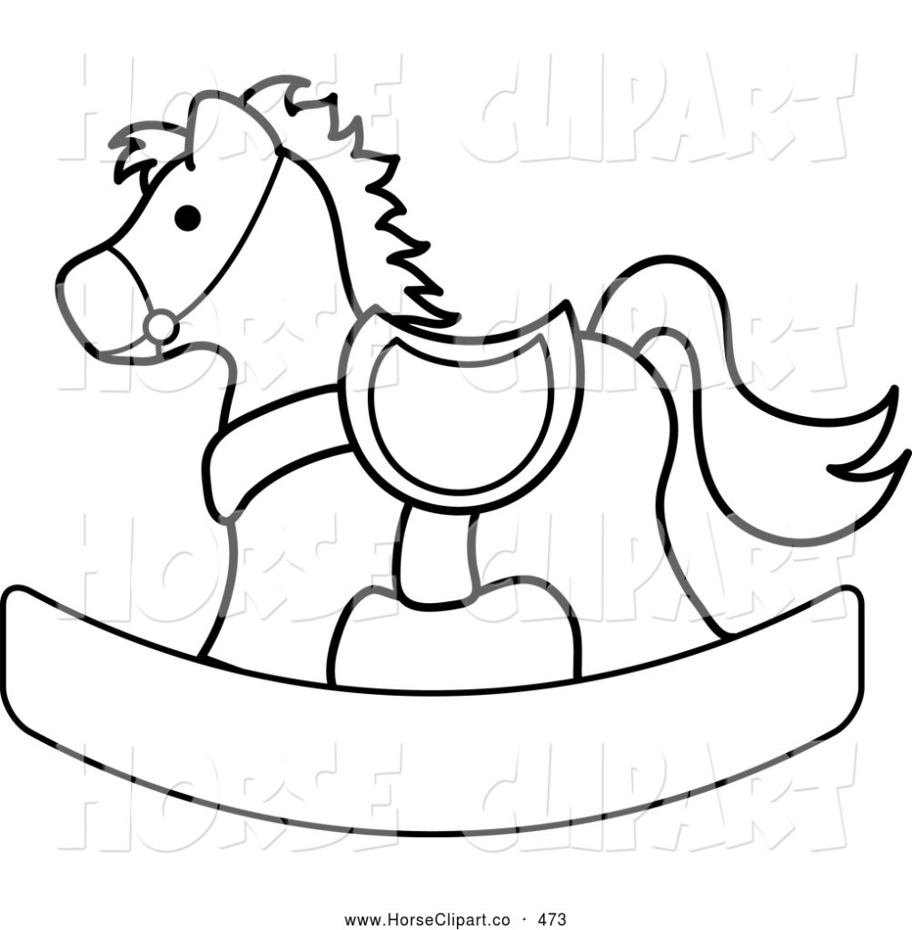 Black And White Horse Clipart.