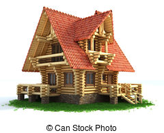 Square wooden house clipart.