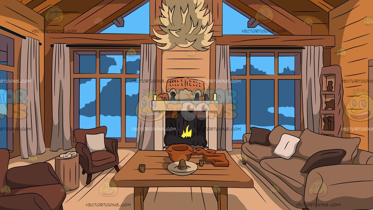 Wood Cabin Living Room Background.