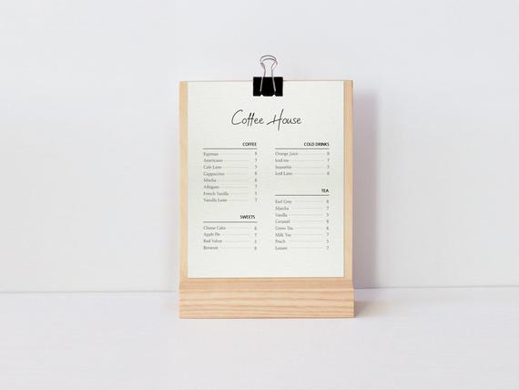Clipboard Stand / Wooden clip board and holder / Table top.