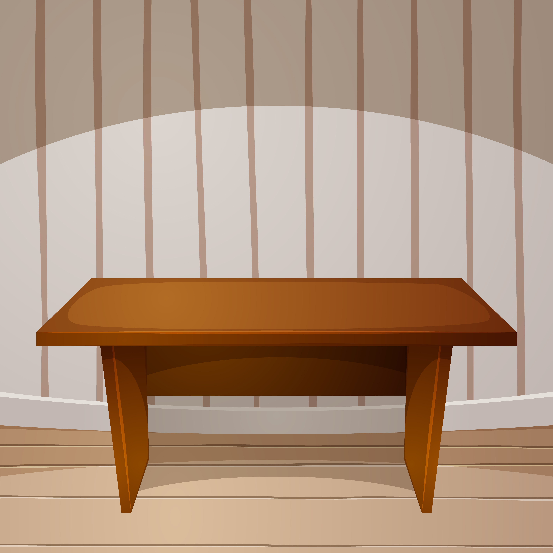 Cartoon room. Wooden table. vector illustration.