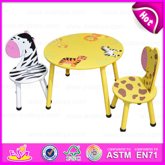 2015 Round Table and Chair for Kids, Animal Design Children Wooden Table  and Chairs, Wooden Toy Table Chairs for Christmas W08g140.