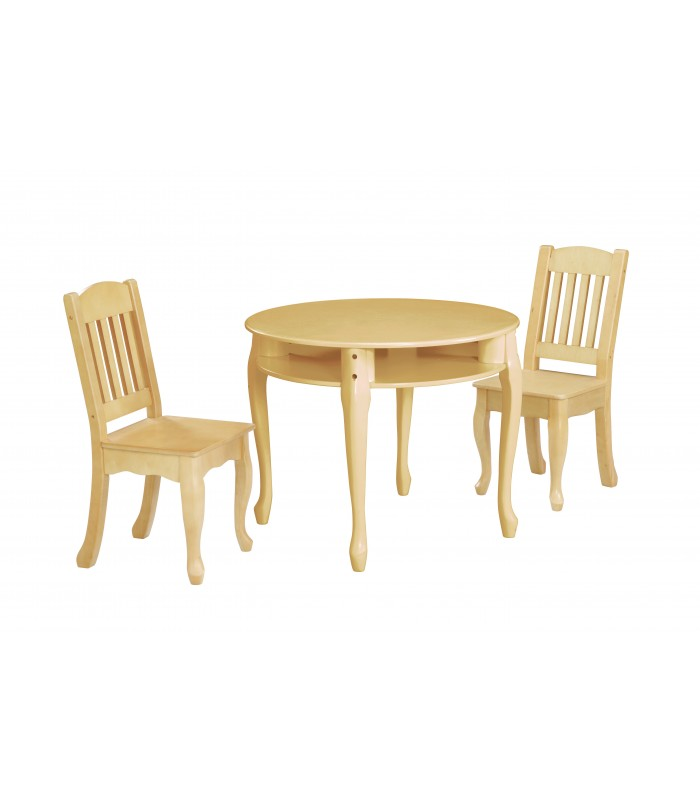 Kids Natural Round Table and Set of 2 Chairs The Winsdor Collection.