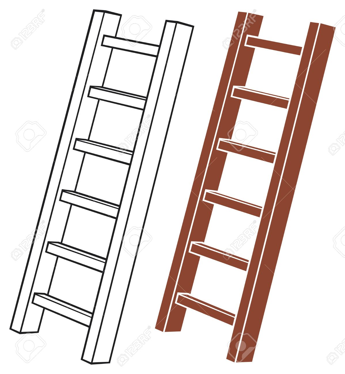 Illustration Of A Wooden Ladder Royalty Free Cliparts, Vectors.