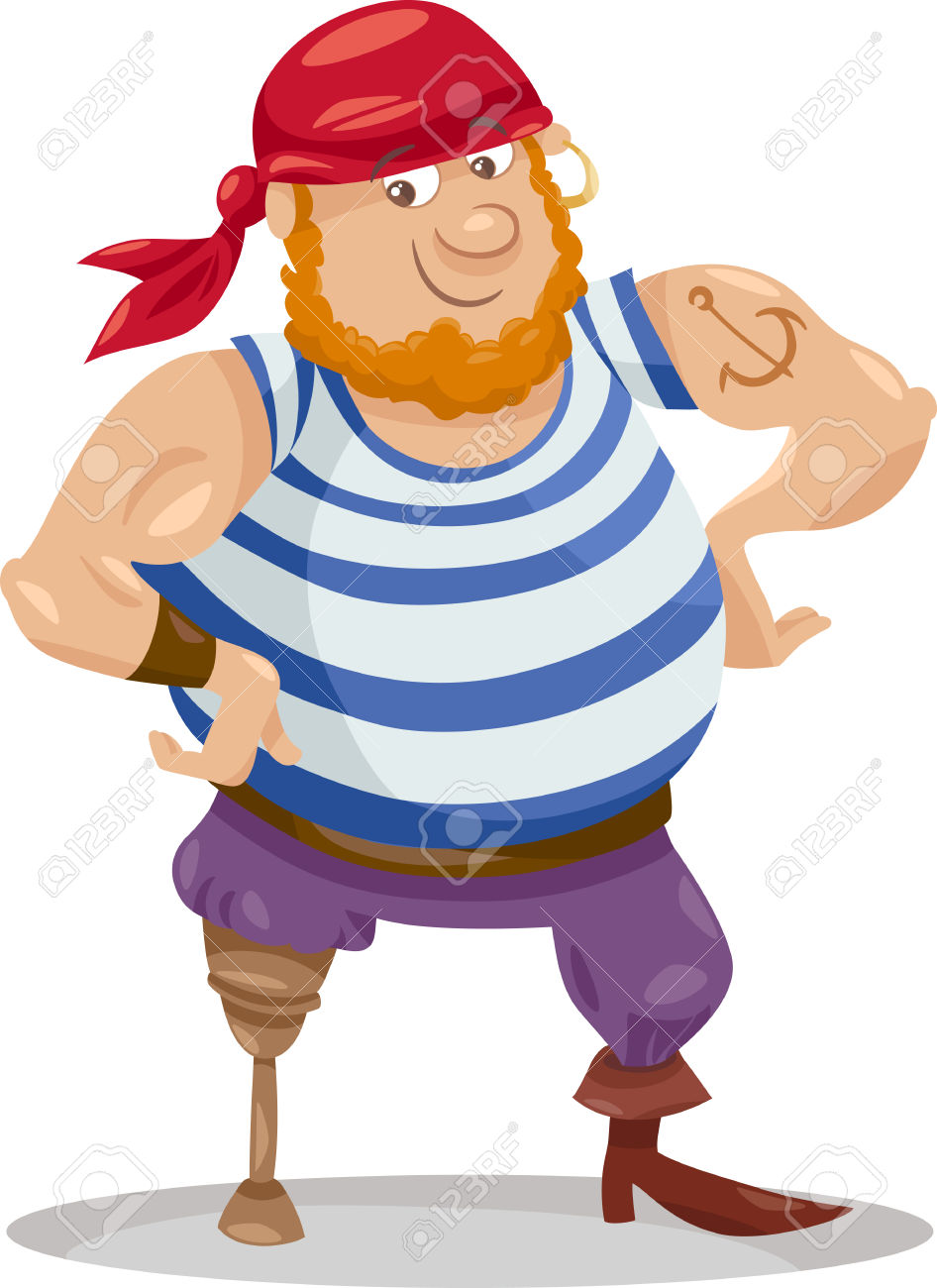 Cartoon Illustration Of Funny Pirate Officer With Peg Leg Royalty.