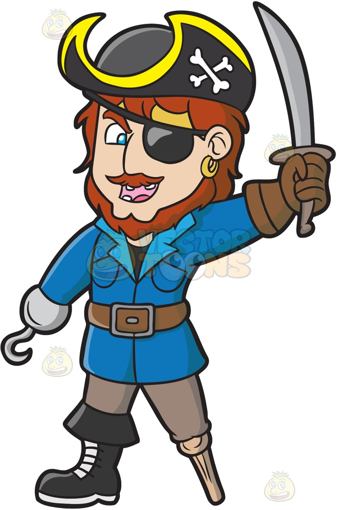 An Ecstatic Pirate With A Hook Hand And A Wooden Leg Cartoon Clipart.