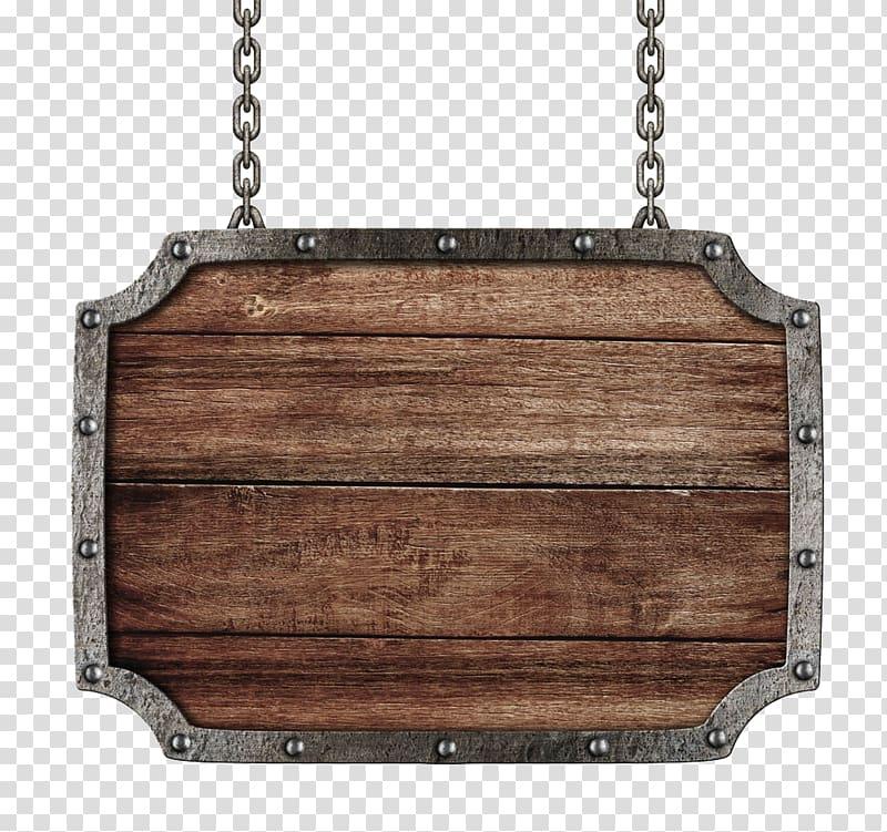 Black metal framed brown wooden board illustration.