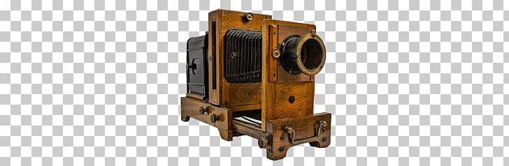 Antique Camera, vintage brown wooden land camera PNG clipart.