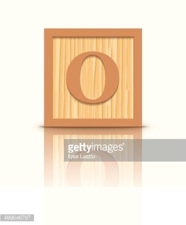 Vector letter O wooden alphabet block Clipart Image.
